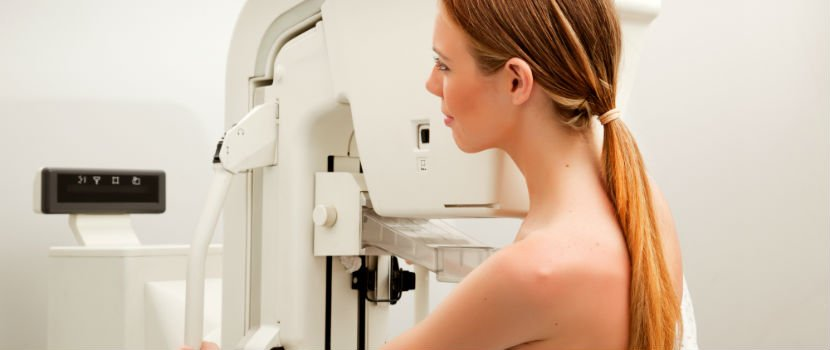Woman having breast scan