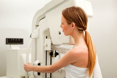 Woman having a breast scan